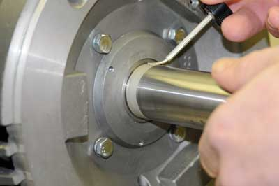 Figure 3: Prior to installation of a grounding ring, the motor shaft must be cleaned down to bare metal, free of any nonconductive material. Conductivity can be further enhanced by coating the part of the shaft that will contact the ring with colloidal silver.