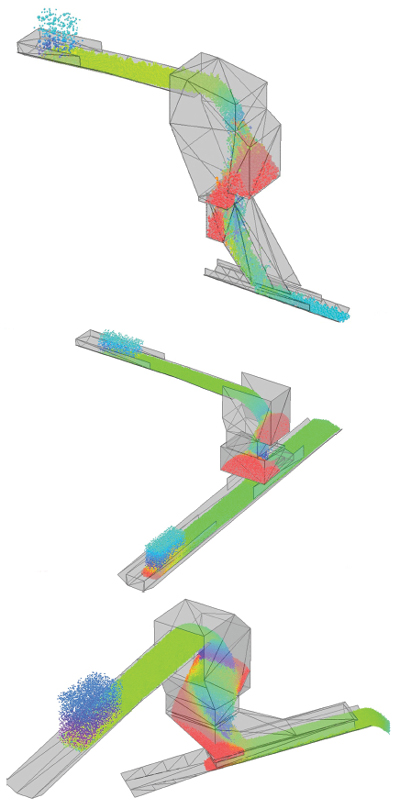 Illustrated examples of Overland Conveyor's Discrete Element Method (DEM).