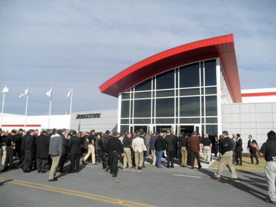 About 400 people gathered to celebrate the grand opening of Bridgestone's newest mining tire plant.