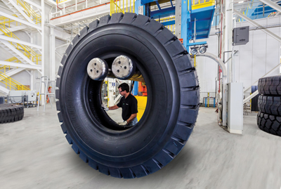 A technician performs a visual inspection at the new Aiken tire plant.
