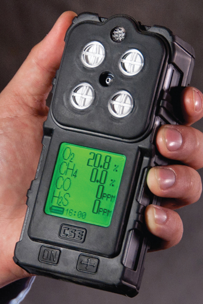The CSE G4 portable multigas gas detector measures levels of one to four gasses.