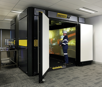 A miner training inside an Immersive Technologies VR unit.