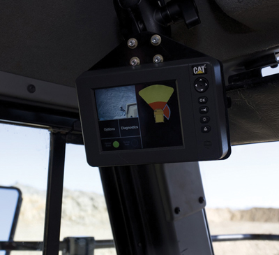 The Cat Detect display inside a truck cab shows the operator his surroundings.