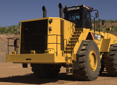 Radars, part of Caterpillar's Detect system, are mounted on equipment such as this Cat 993K.