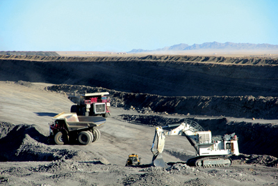 Most of the coal mining in Mongolia is carried out by open-pit methods.