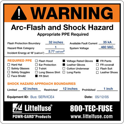 Figure 1: NPFA 70E requires this arc flash hazard information to be placed on a warning label affixed to the cabinet.
