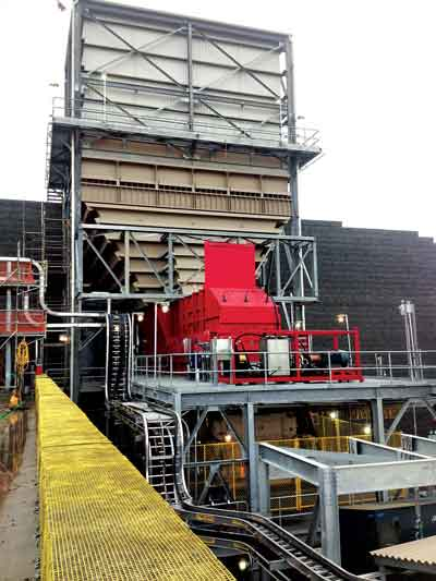 TerraSource 5100D 4-roll crusher with the Nitroil system on a RoM coal application.