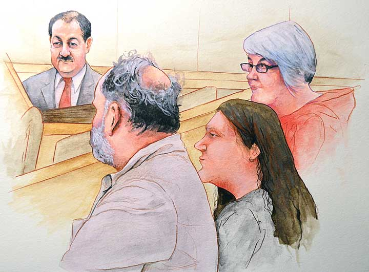 Gary and Patty Quarrels, family members of the fallen miners, watch the trial of Don Blankenship from the front row of the courtroom of Judge Irene Berger. (Artwork courtesy of Jeff Pierson)