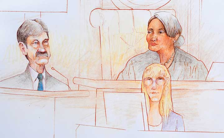 Former Massey Energy official Bill Ross testifies on November 7 at the trial of Don Blankenship. (Artwork courtesy of Jeff Pierson)