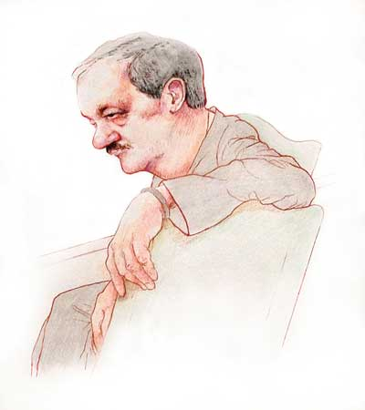 Don Blankenship looks on during opening arguments on October 7. (Artwork courtesy of Jeff Pierson)