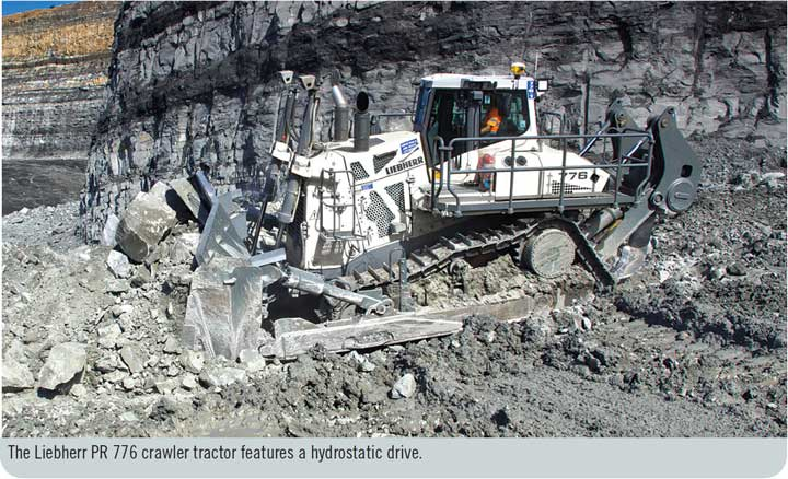 The Liebherr PR 776 crawler tractor features a hydrostatic drive.