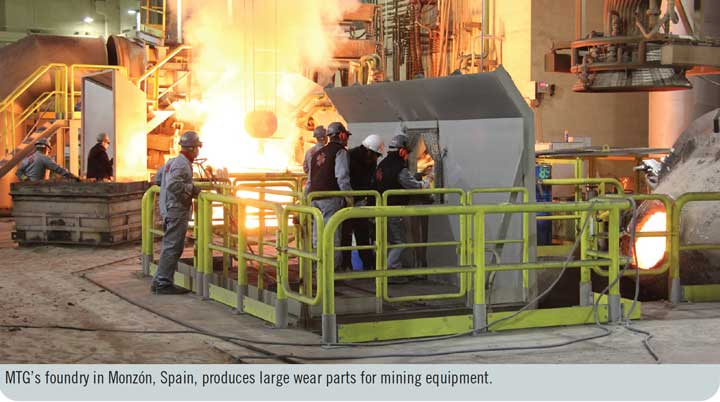 MTG's foundry in Monzón, Spain, produces large wear parts for mining equipment.