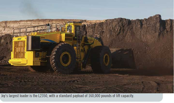 Joy's largest loader is the L2350, with a standard payload of 160,000 pounds of lift capacity.