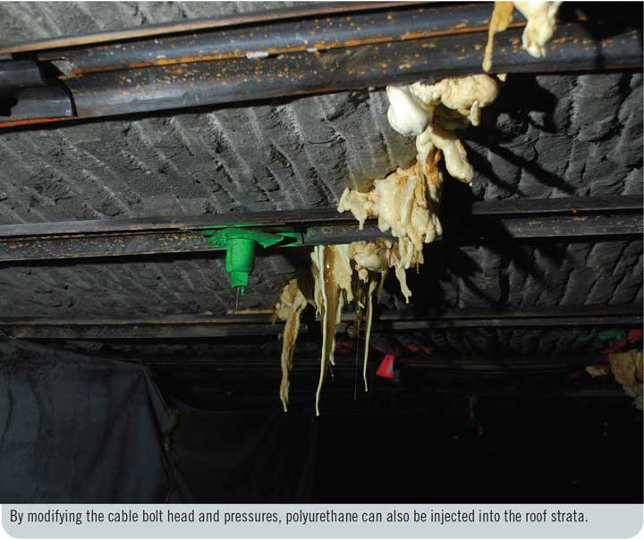By modifying the cable bolt head and pressures, polyurethane can also be injected into the roof strata.