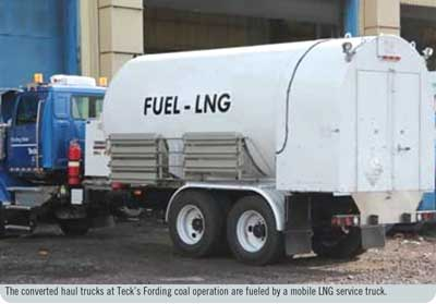 The converted haul trucks at Teck's Fording coal operation are fueled by a mobile LNG service truck.