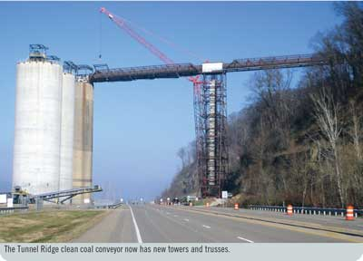 The Tunnel Ridge clean coal conveyor now has new towers and trusses.