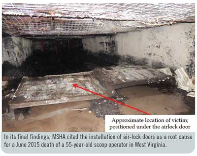 In its final findings, MSHA cited the installation of air-lock doors as a root cause for a June 2015 death of a 55-year-old scoop operator in West Virginia.