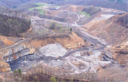 Part of Hawks Nest pre-reclamation. At its peak, the surface mine produced 15 million bank cubic yards (BCY) with coal totaling 600,000 tons.