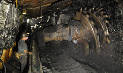 A miner cuts coal at one of Weglowa's longwall mines in Poland. (Photo courtesy of Kompania Weglowa)