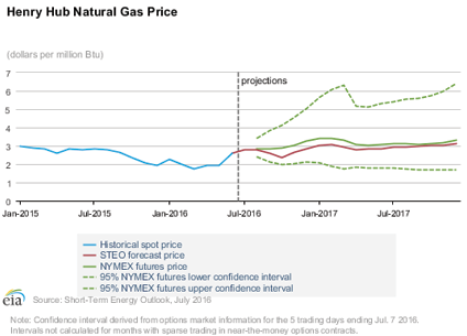 Figure 1: Natural gas projections.