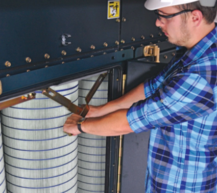 According to Camfil, filter change-out with its Farr Gold Series dust collectors is simple and easy.